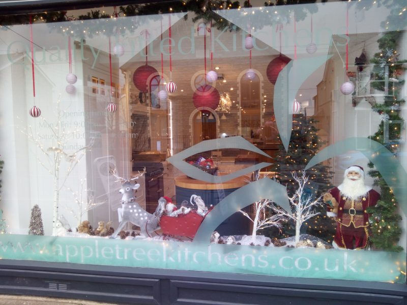Shop front decorated for Christmas