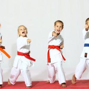 Kids doing taekwondo